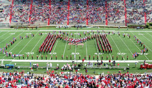 band in formation on football field